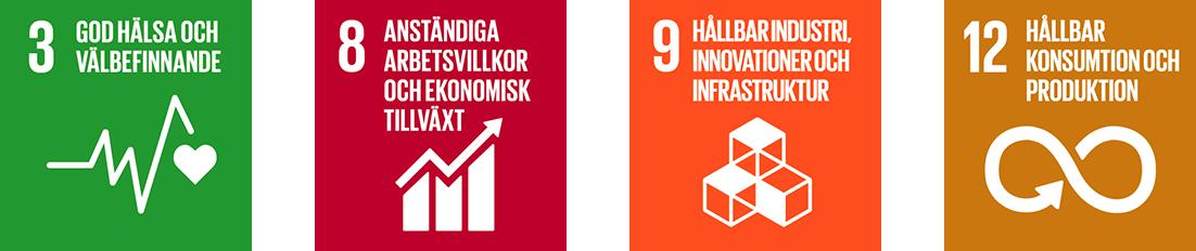 De globala målen; 3 God hälsa och välbefinnande, 8 Anständiga arbetsvillkor och ekonomisk tillväxt, 9 Hållbar industri, innovationer och infrastruktur, 12 Hållbar konsumtion och produktion